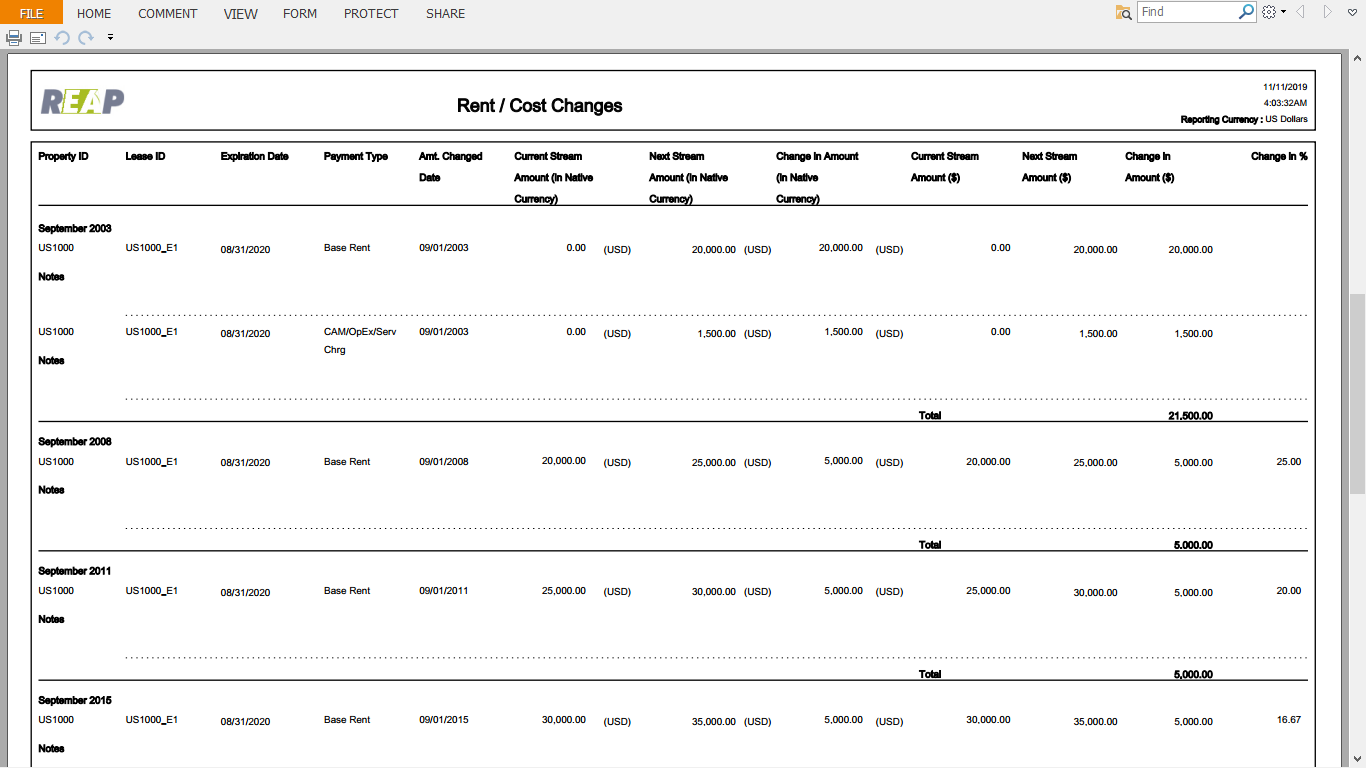 Rent/cost changes pdf report view