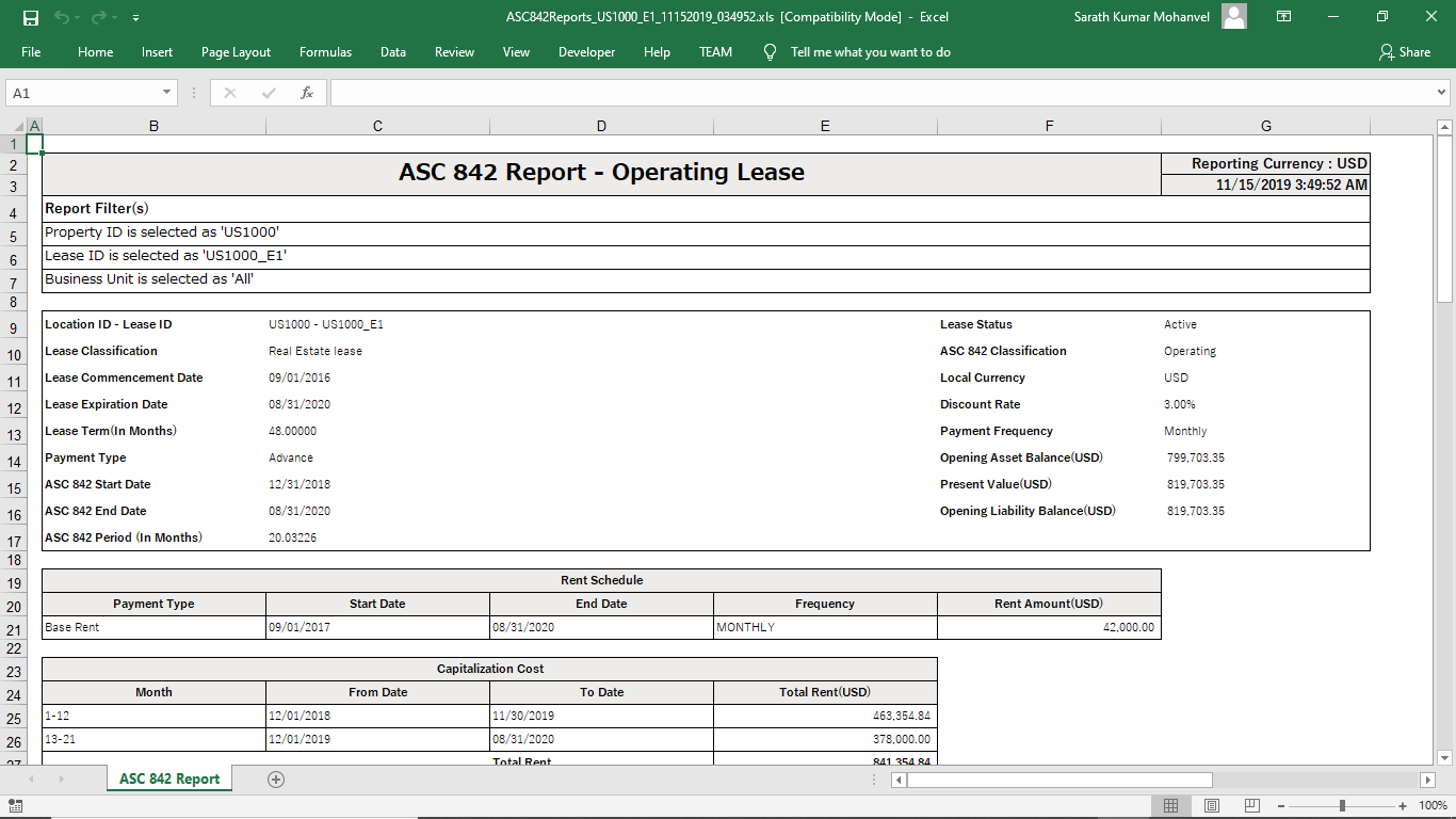 ASC 842 excel report view